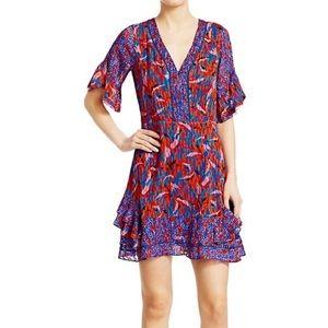 Tanya Taylor Kayla Mixed Print Ruffle Mini Dress 6